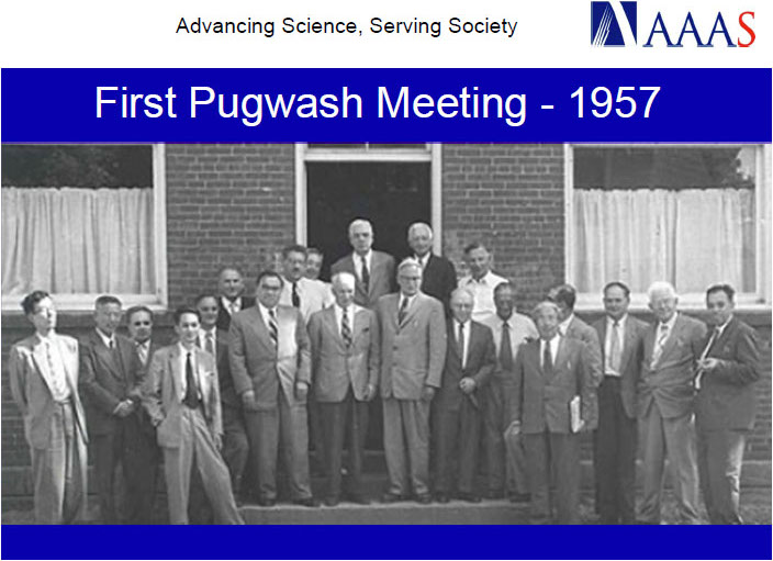 Pugwash Conferences on Science and World Affairs seeking elimination of nuclear weapons (Nobel Peace Prize 1995)