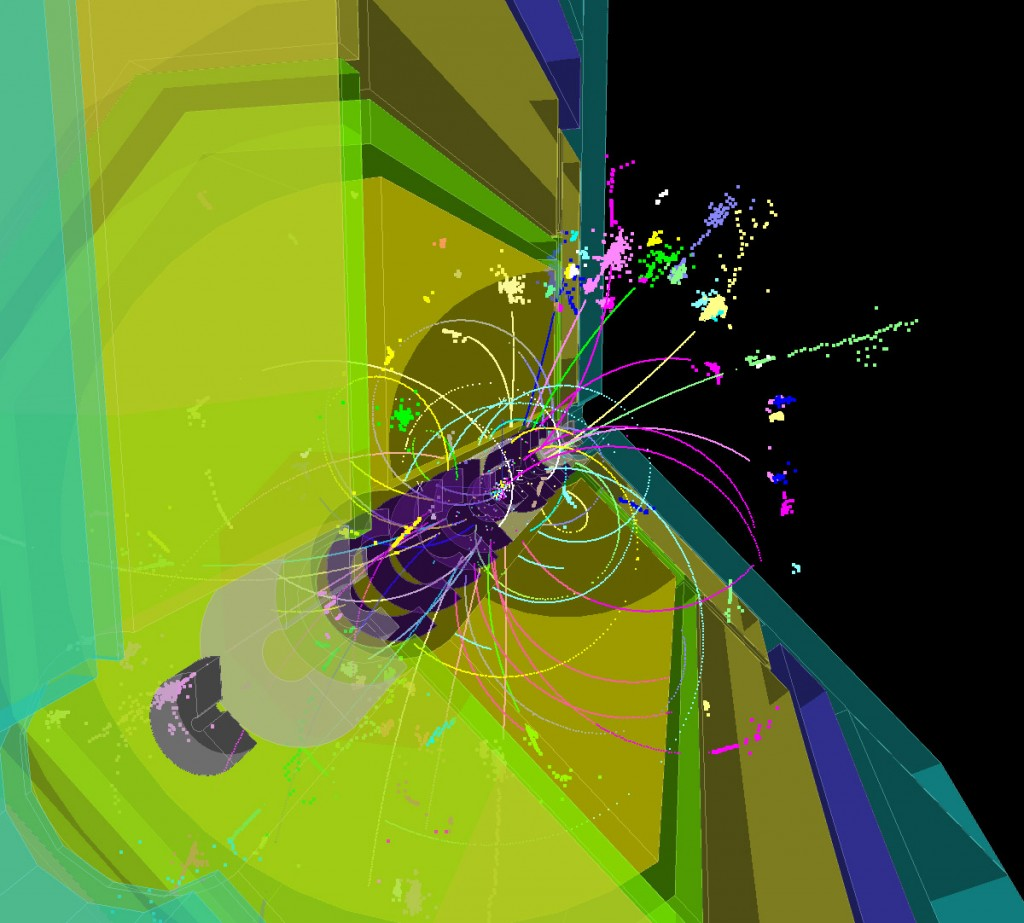 Three-dimensional image of a 500-GeV tt̅ event simulated in the ILD detector