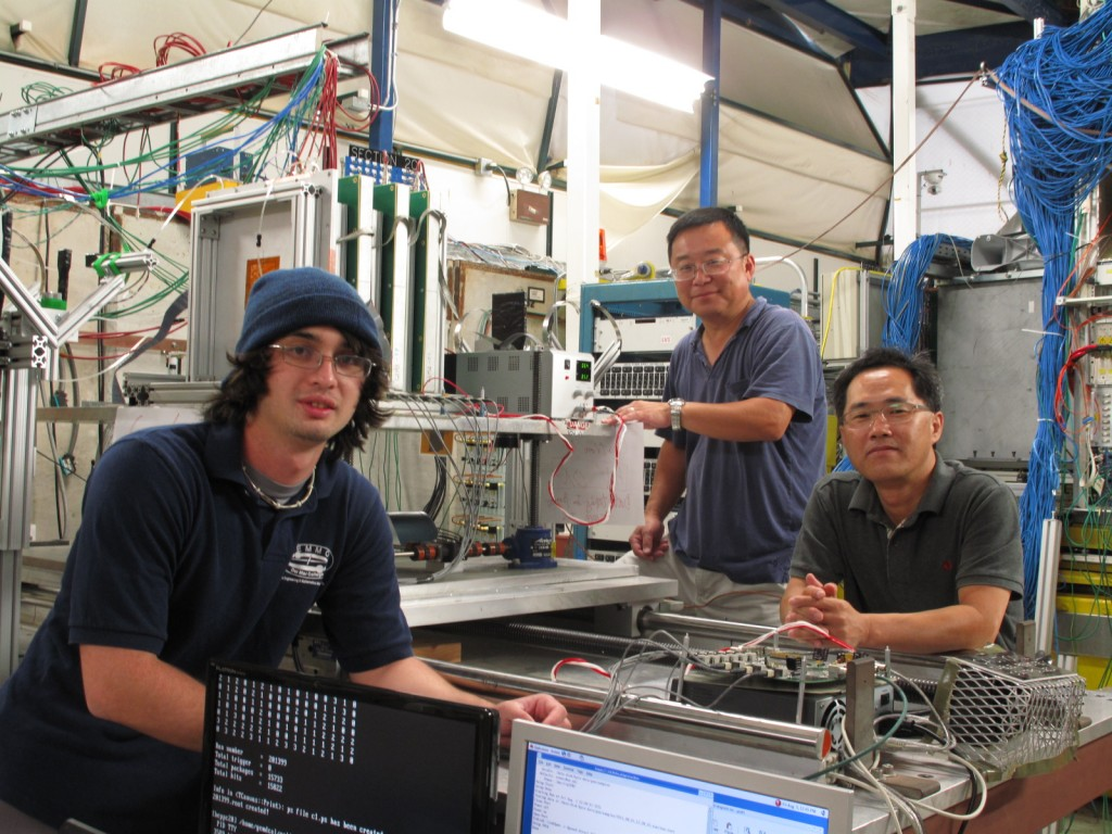 University of Texas at Arlington researchers Danrae Pray, Jaehoon Yu and Seongtae Park visited the Fermilab Test Beam Facility this month to characterise their GEM calorimeter chambers. Image: Jaehoon Yu