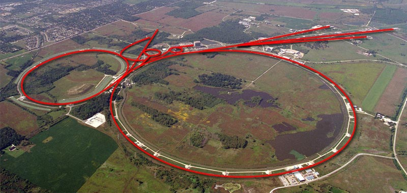 Aerial view of the Fermilab Tevatron complex. Image: Fermilab