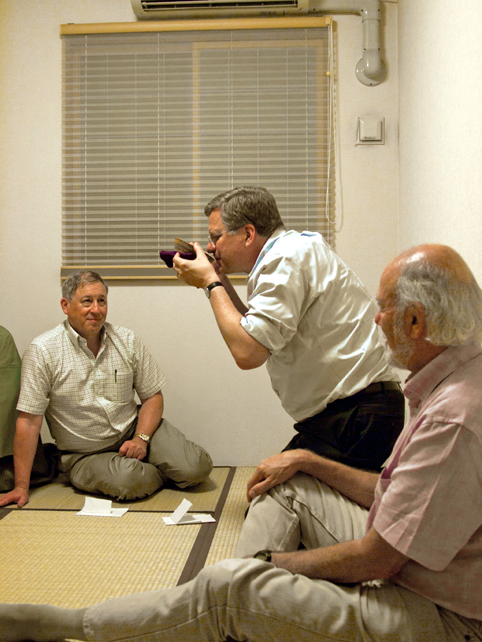 Jim Brau (left), Jon Bagger (middle) and Barry Barish (right) enjoying the harvest moon with a traditional tea ceremony held at Hitoshi Yamamoto's residence near Tohoku University. Image: Nobuko Kobayashi