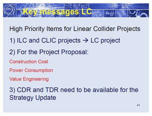 Rolf Heuer gives a message to the assembled linear collider community during the introductory plenary session at Granada