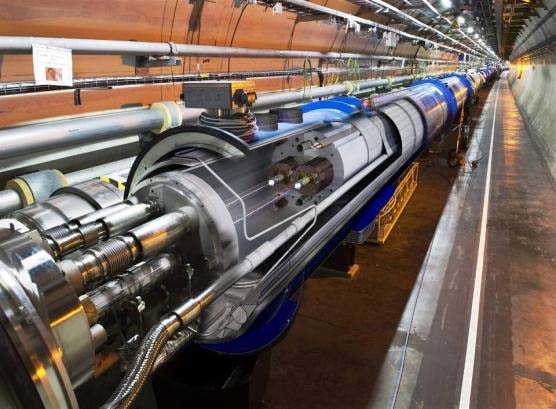 A view of the twin aperture main superconducting magnets for the LHC