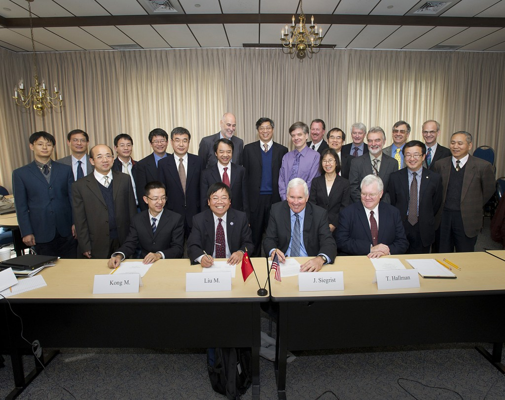 The 31st proposed programme of activities for the PRC-US Cooperation in High Energy Physics was signed earlier this month at Brookhaven National Laboratory. Image: Roger Stoutenburgh, BNL