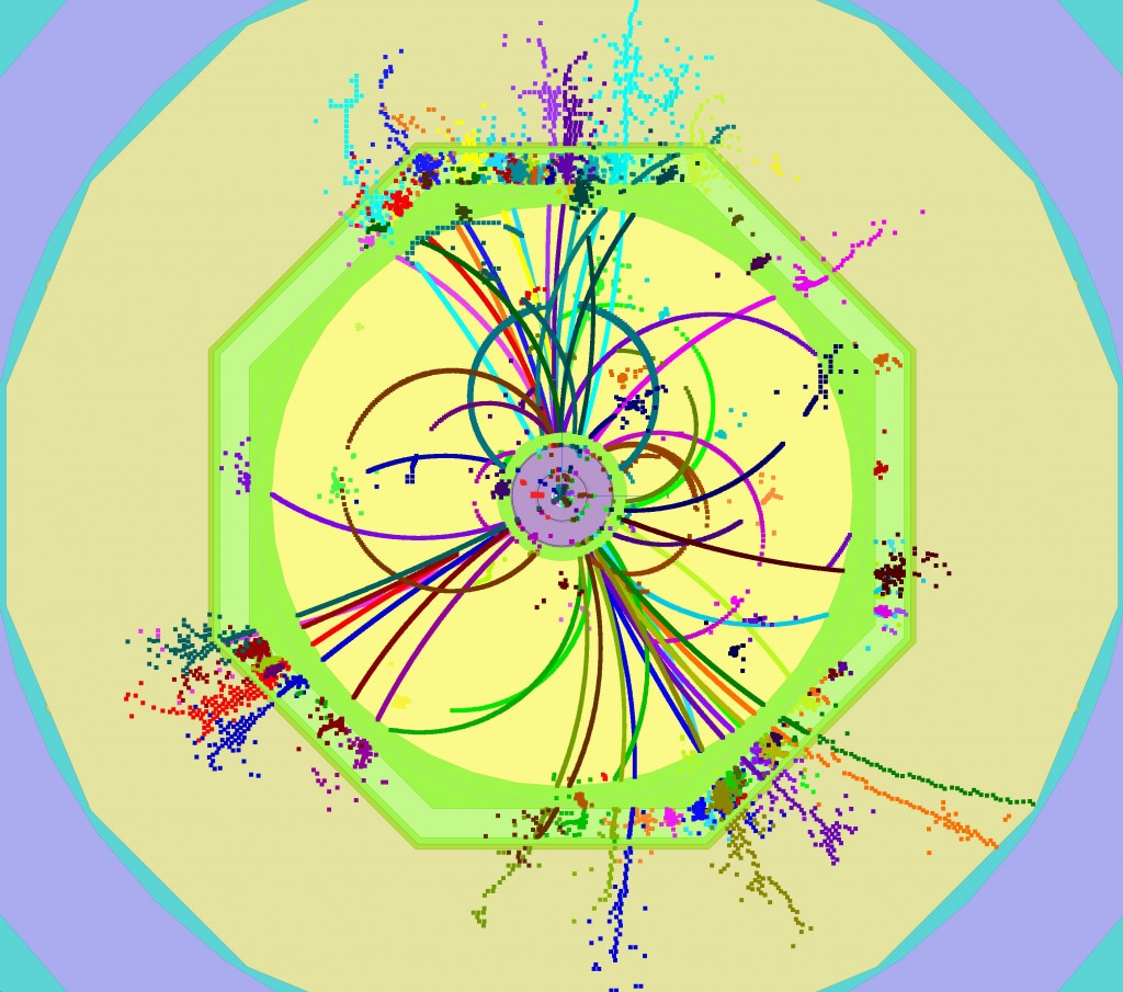 A t{ol}t{/ol} event simulated and reconstructed using ILCSoft, one of two software programs with LCIO at its core. Image: DESY