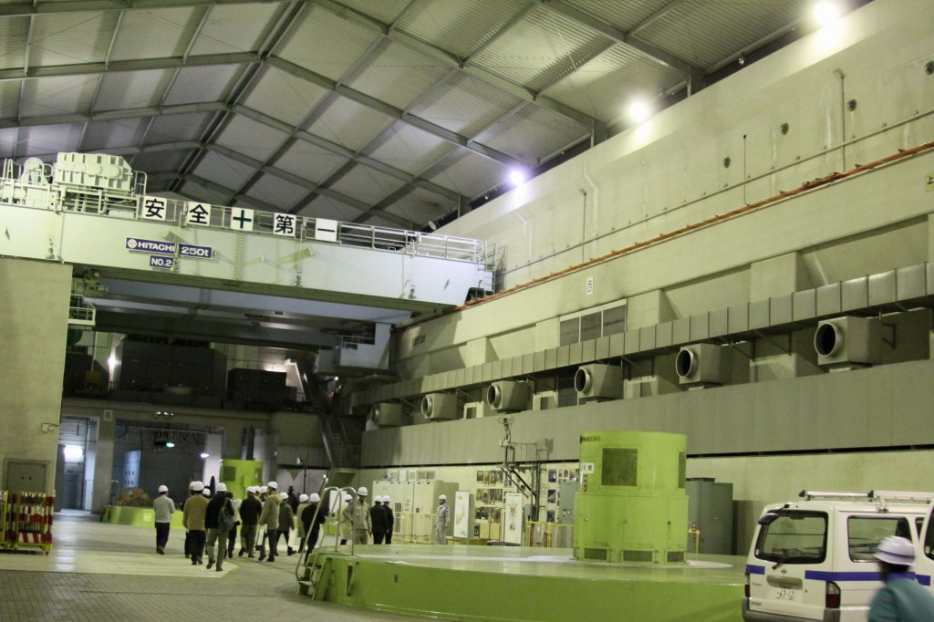 The large hall housing the Tenzan underground hydraulic power plant in the Sefuri mountains