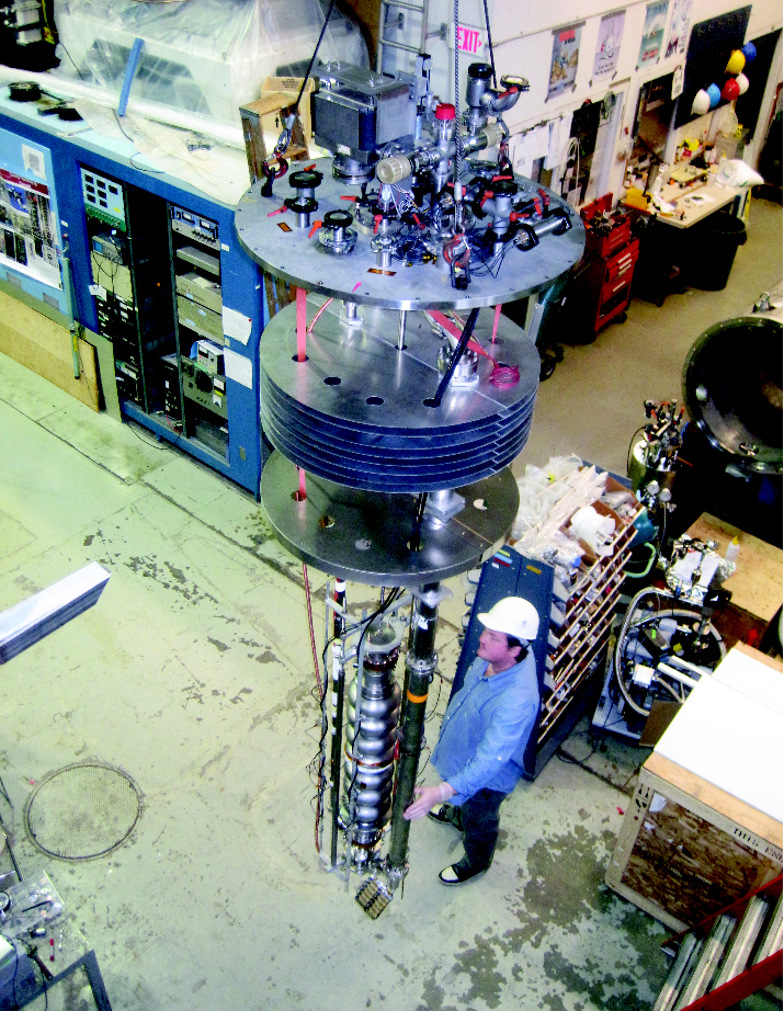 Cornell's first ERL cavity during its vertical test showing the required small energy loss. Image: Cornell / LEPP
