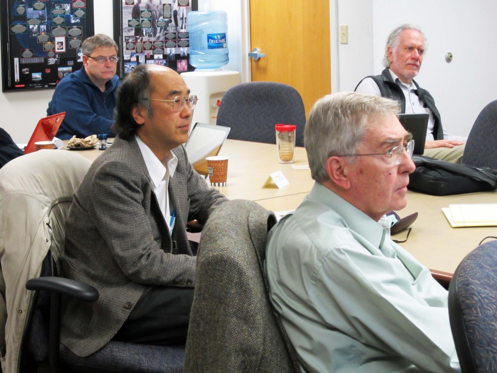 The GDE Executive Committee in session. Shown from left to right are Nick Walker, Toshiaki Tauchi, Ewan Paterson and Marc Ross. Image: ILC