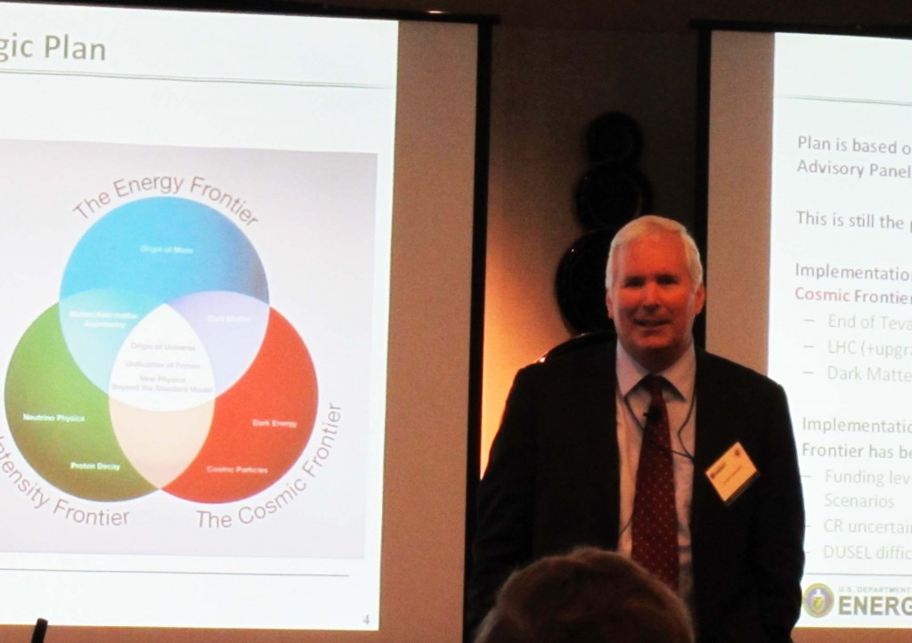 Jim Siegrist, Associate Director, DOE Office of High Energy Physics, addresses HEPAP. Image: ILC