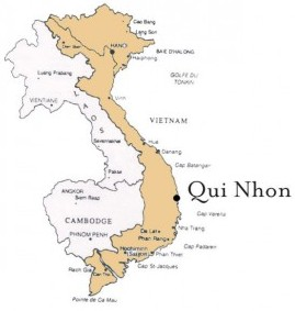 Map of Vietnam showing the location (Qui Nhon) of the International Center of Interdisciplinary Science Education, which is under construction.