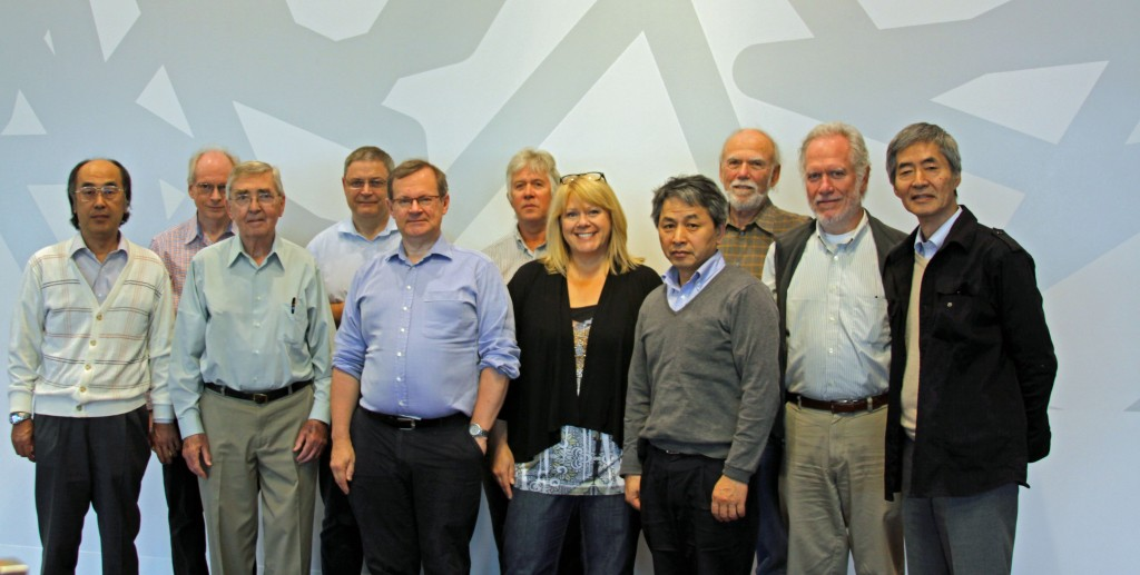 The GDE Executive Committee at their face-to-face meeting in Melbourne. From the left, Toshiaki Tauchi, Gerry Dugan, Ewan Paterson, Nick Walker, Brian Foster, Mike Harrison, Maxine Hronek, Akira Yamamoto, Barry Barish, Mark Ross and Kaoru Yokoya. Steinar Stapnes was absent.