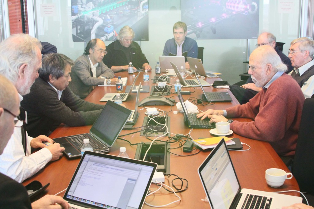 The GDE Executive Committee signing off on the draft TDR for technical review at a special meeting at Fermilab in November