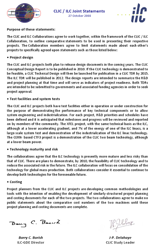 The CLIC/ILC statement, a forerunner to the Linear Collider Collaboration.
