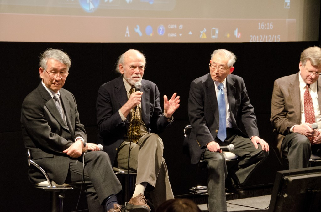 Panel Discussion at the TDR Draft handover ceremony in Tokyo. From the left: Atsuto Suzuki, Barry Barish, Sakue Yamada and Jon Bagger.