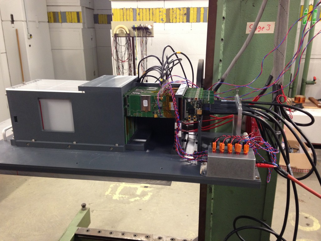 Complete setup of the SiW-ecal test in the test beam. The small silver box makes sure that the power pulsing works.