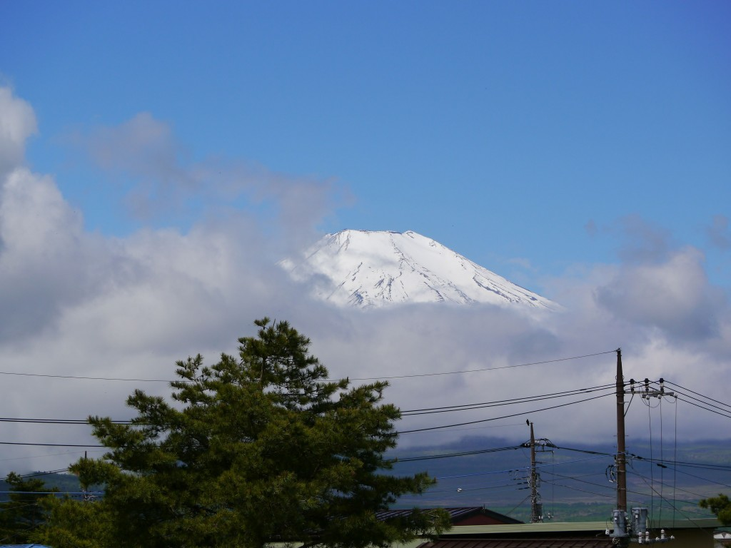Shy Mount Fuji showed itself at the end of the hike.