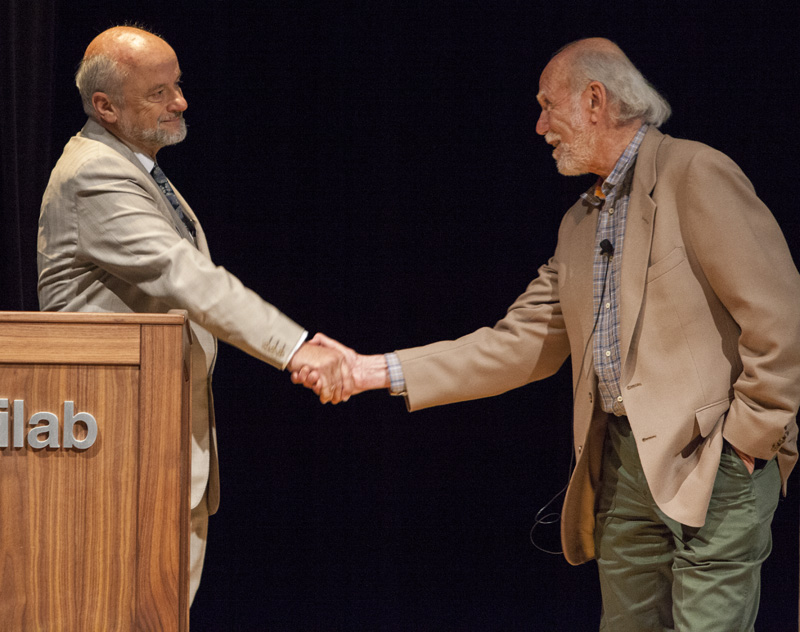 An emotional moment: Pier Oddone, who will retire from his posts as Fermilab Director and ICFA chair on 1 July, congratulates Barry Barish, who is also retiring from his role as GDE Director, on accomplishing the TDR. Image: Cindy Arnold, Fermilab