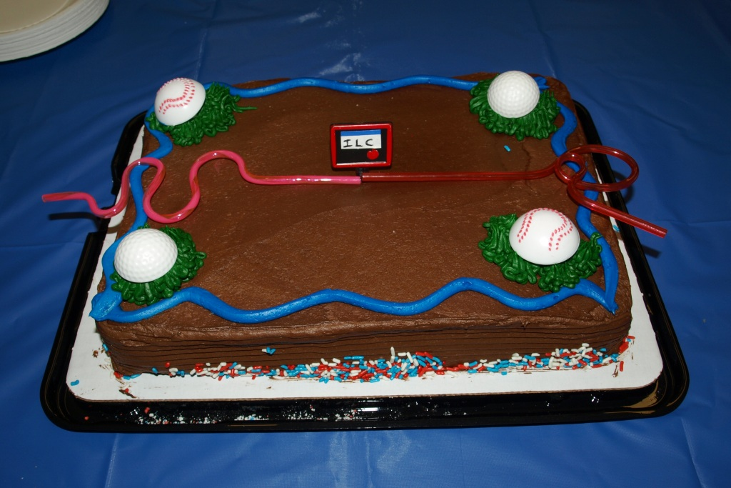 TDR handover party cake, complete with silly straw model of the ILC. Image: Cherrill Spencer.