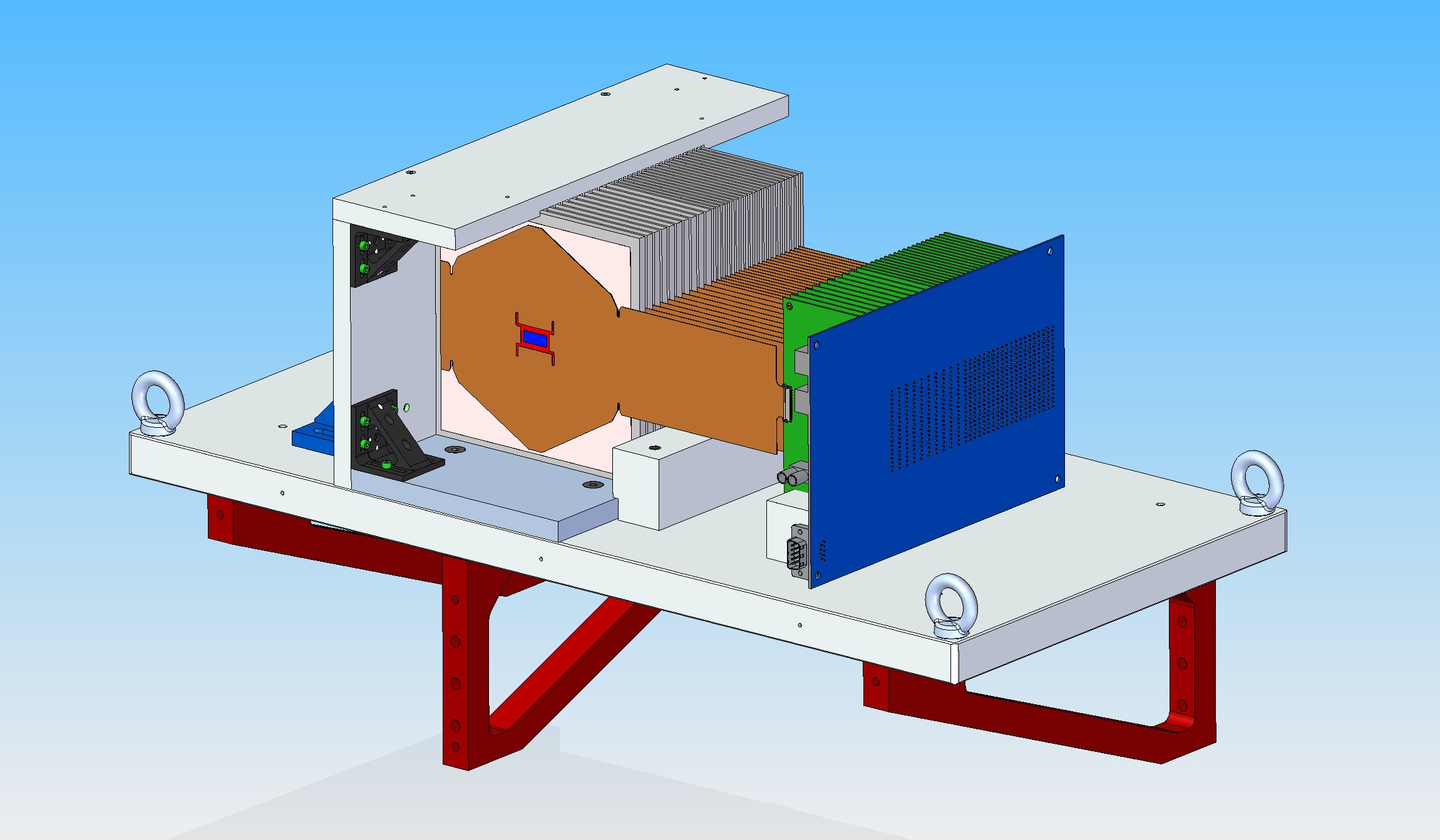 Engineering drawing of the electromagnetic calorimeter at SLAC.  This drawing shows the full depth of the ECAL, but unlike the real calorimeter, it is only one sensor wide.  The sensor, though not visible in the drawing, is located underneath the hexagonal brown cable. Image courtesy of Marco Oriunno.