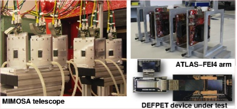 These are the components of the combined beam test: the MIMOSA telescope, the ATLAS-FEI4 arm and the DEPFET device under test.