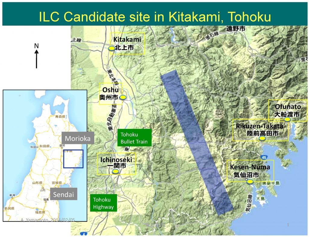 ILC candidate site in Kitakami. The accelerator is shown with a blue line.