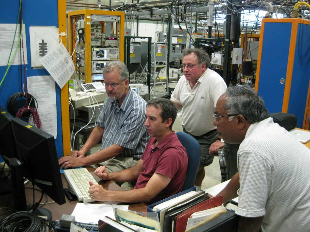 The magnetron project members are, from left: Brian Chase, Ed Cullerton, Ralph Pasquinelli and Philip Varghese. Image: Elvin Harms, Fermilab