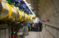 Visitors stood patiently in line to see real particle accelerators, including that of the European XFEL.