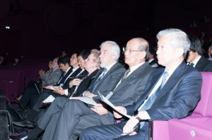 Opening IEEE: Junichi Nishiyama (AAA), Takashi Nishioka (AAA), Rolf-Dieter Heuer, Catherine Trautmann, Hon. Shintarou Ito, Hon. Takeshi Shina, Satoru Yamashita (from right to left)