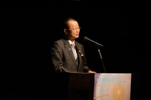 Hon. Takeo Kawamura giving a keynote speech at the LCWS2016 in Morioka, japan.