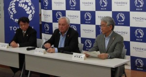 Press conference announcing LCWS2019 in Sendai. From left: Hitoshi Yamamoto, Lyn Evans, Atsuto Suzuki