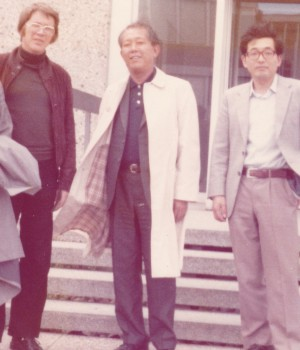 Koshiba (Center) and Yamada (right) in summer 1975
