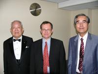 Professor emeritus Masatoshi Koshiba, Professor Brian Foster and KEK Director General Yoji Totsuka