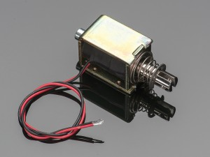 A large push-pull solenoid. A bargain at only $14,95! Image: adafruit.com
