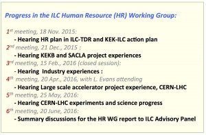 Activity progress of the human resources working group.