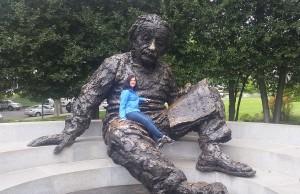 Amanda Steinhebel takes a seat in Einstein's lap in Washington, DC.